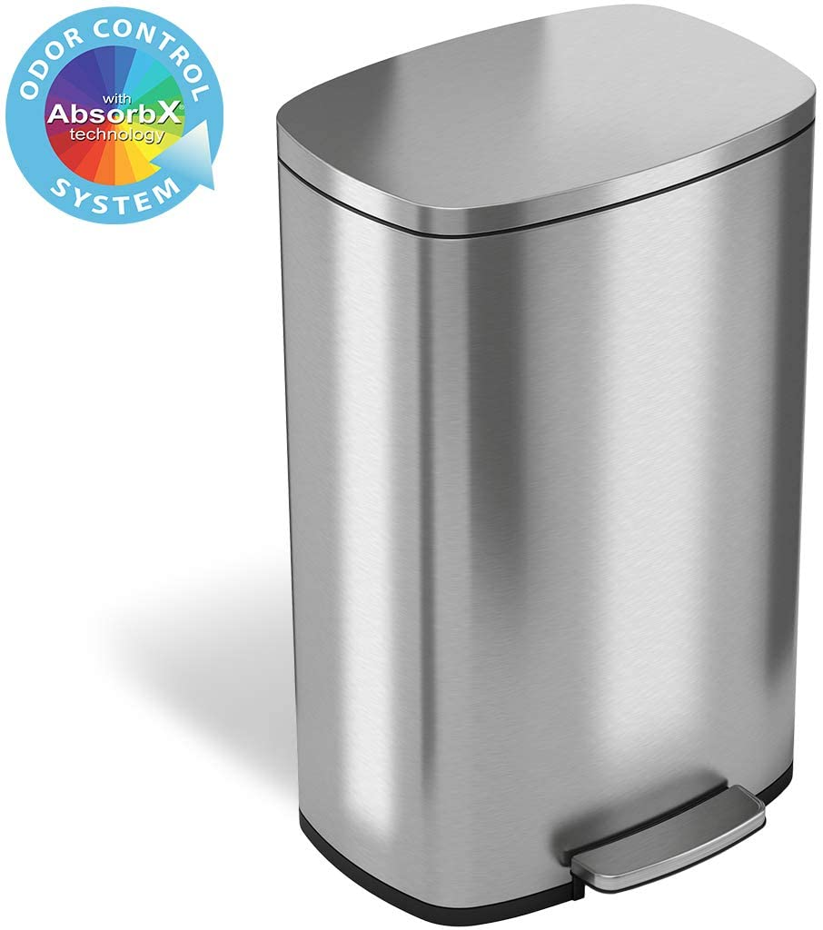 Itouchless Softstep 13 2 Gallon Stainless Steel Step Trash Can With Odor Control System 50 Liter Pedal Garbage Bin For Kitchen Office Home Silent And Gentle Open And Close Walmart Com Walmart Com