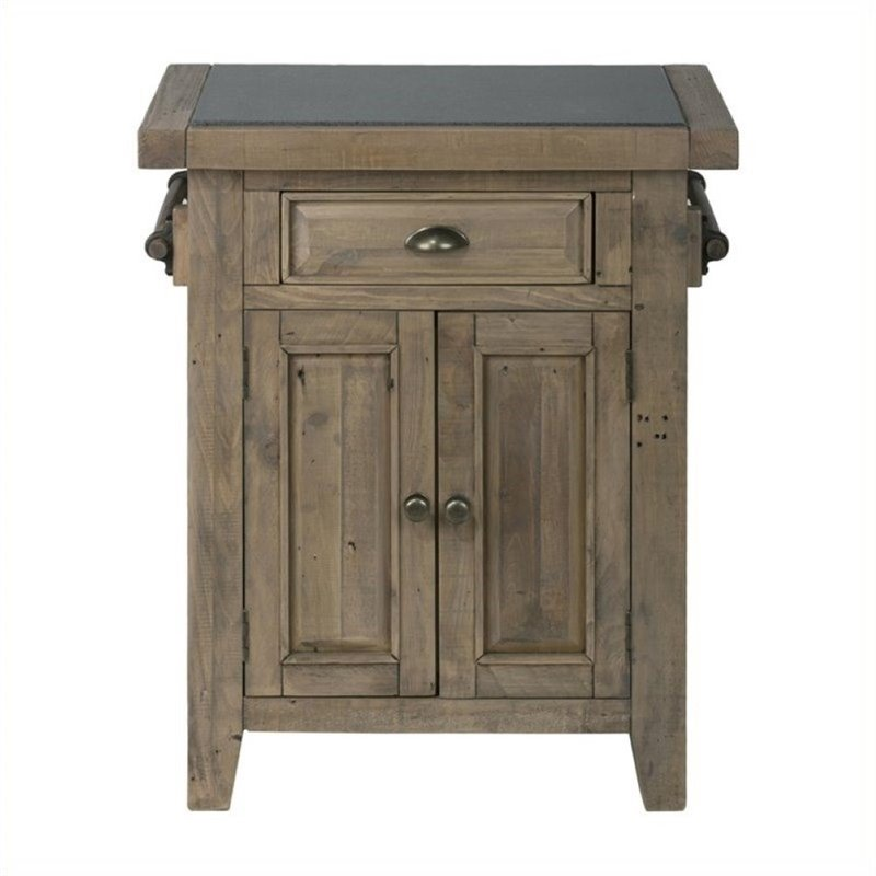 Bowery Hill Kitchen Island with Granite Top in Pine