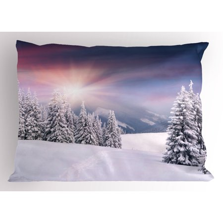 Lr Sham - Winter Pillow Sham Idyllic Image of Snow Season Outdoors Frozen Highlands Sunset in Cold Weather Print, Decorative Standard Queen Size Printed Pillowcase, 30 X 20 Inches, Multicolor, by Ambesonne