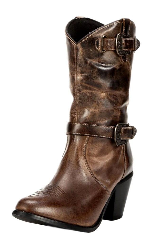 "Dingo Western Boots Womens Cowboy 10"" Stripe In Zip Brown DI 648 by Dingo"