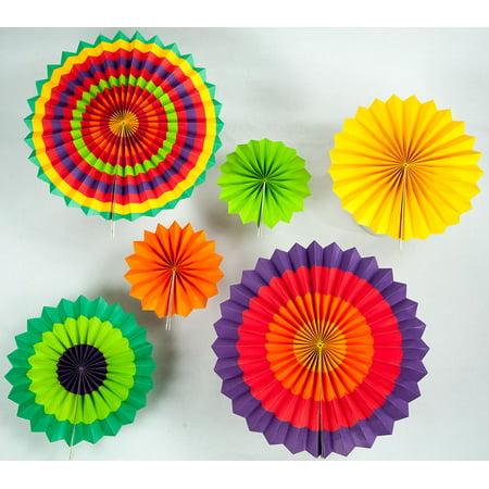 Quasimoon Fiesta Paper Flower Pinwheel Backdrop Party Wall Decoration Combo Kit by PaperLanternStore