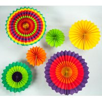 Quasimoon Fiesta Paper Flower Pinwheel Backdrop Party Wall Decoration Combo Kit by PaperLanternStore