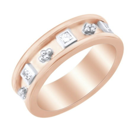 (White Natural Diamond Etruscan Style Band Ring in 14k Rose Gold (0.33 Ct)by Jewel Zone US)