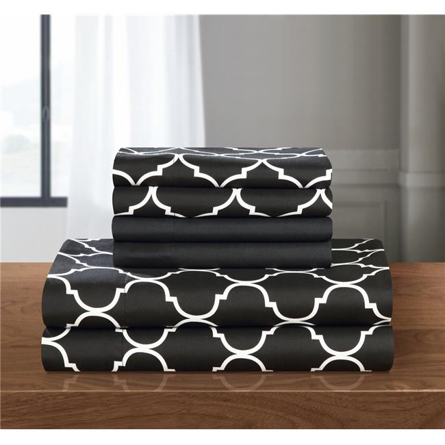 Chic Home SS4531-US 6 Piece Opticia Supersoft Brushed Microfiber Deep Pocket Geometric Pattern King Sheet Set, Black with 2 Bonus Pillow Cases