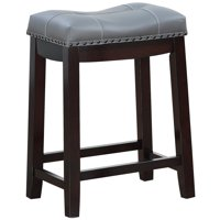 "Angel Line Cambridge 24"" Padded Saddle Stool-Espresso w/ Gray Cushion"