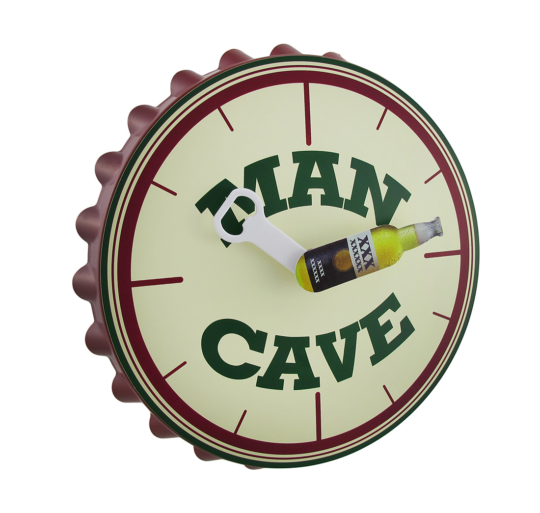J.D. Yeatts Imports Man Cave Bottle Cap Warble Motion Wall Clock 10 In.