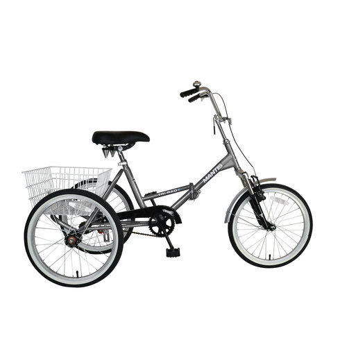 "Mantis Tri-Rad 20"" Folding Adult Tricycle, Unisex, Silver"