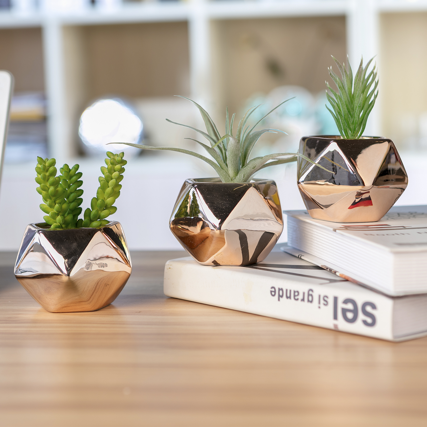 Modern Succulent Planter Pot, Diamond Shape Copper Color Galvanized Ceramic Succulent Pots,Set of 3