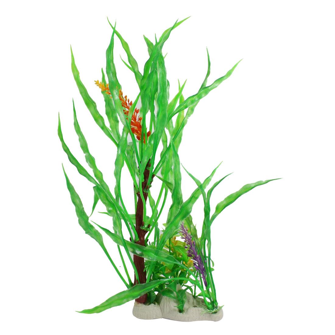 Unique Bargains Unique Bargains Orange Flower Long Leaves Artificial Plastic Plant Decor for Fish Tank