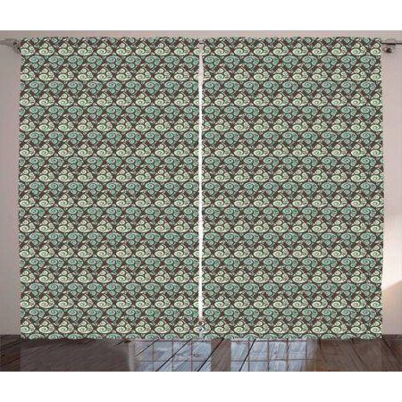 Abstract Curtains 2 Panels Set Raindrop Pattern With Swirled Lines On Brown Toned Backdrop Weather Window Drapes For Living Room Bedroom 108w X 63l