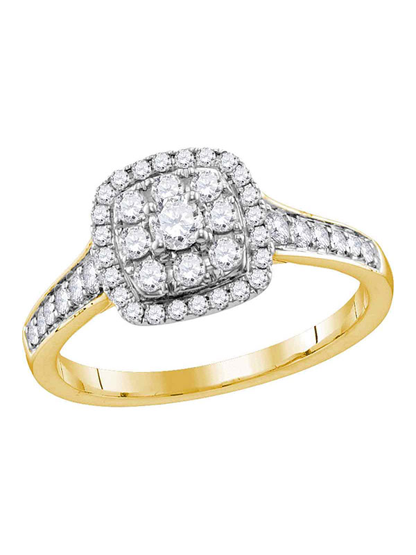 14kt Yellow Gold Womens Round Diamond Round Halo Bridal Wedding Engagement Ring 5 8 Cttw by GND