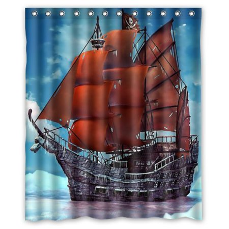GreenDecor Pirate Ship Waterproof Shower Curtain Set with Hooks Bathroom Accessories Size 60x72 inches](Pirate Bathroom Accessories)