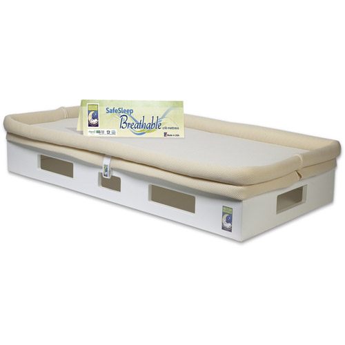 SafeSleep Breathable Crib Mattress, White Base, Khaki Surface by Secure Beginnings