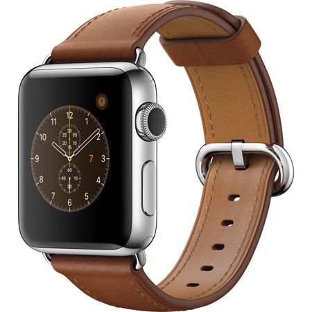 Bent Steel Saddle (Refurbished Series 2 38mm Apple Stainless Steel Case Saddle Brown Classic Buckle Band)