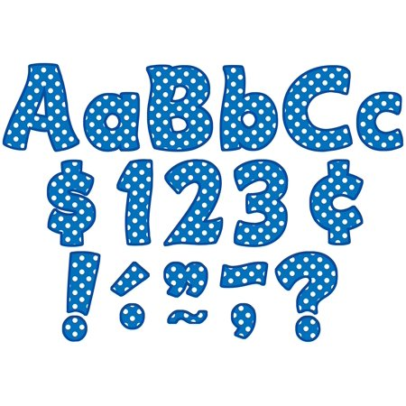 Blue Polka Dots Funtastic Font 4-Inch Letters Combo Pack (5347), Each letter is 4-Inch. By Teacher Created (Blue Polka Dot Letter)