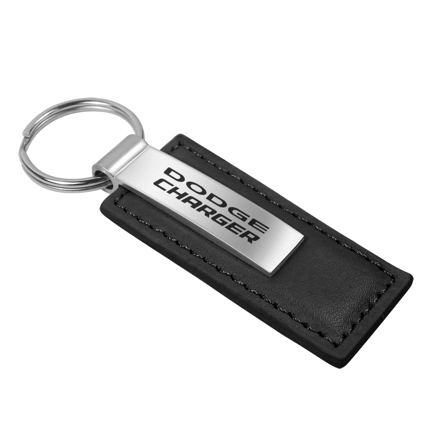 Dodge Charger Black Leather Key Chain