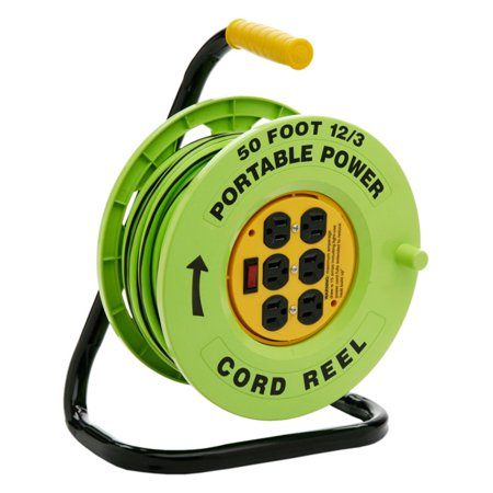 Designers Edge Power Stations 12/3-Gauge Cord Reel with 6 Outlets, - Hubbell Cord Reel