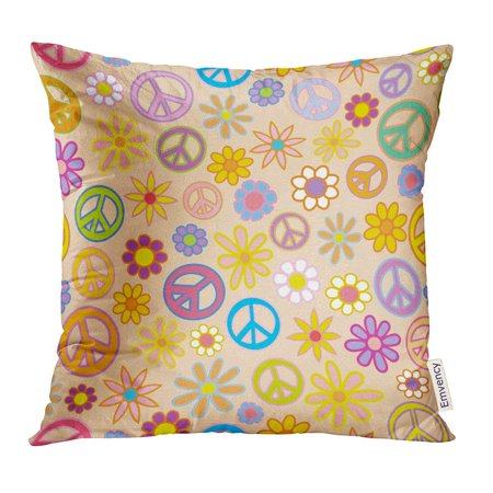ARHOME Colorful Power of Flowers and Peace Signs Intermingled Woodstock Pillow Case 18x18 Inches Pillowcase