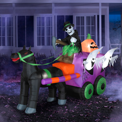 5.5' Tall x 8.5' Long Airblown Inflatable Halloween Wild Stage Coach Scene