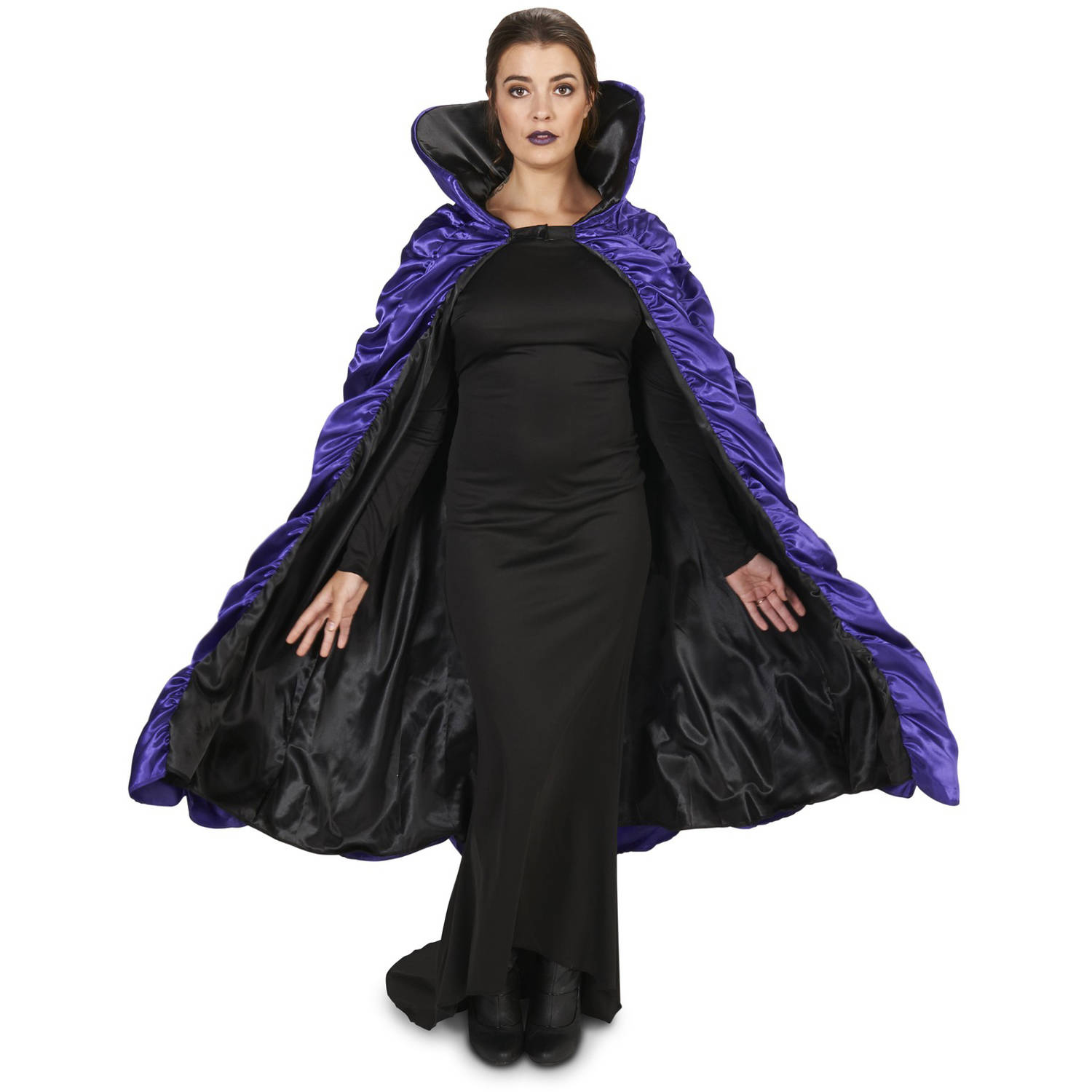 Purple and Black Reversible Cape Adult Halloween Accessory