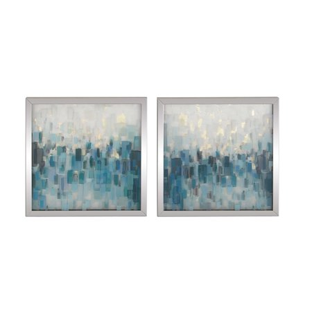 Skyline Framed (Decmode Modern Wood Abstract Skyline Square Framed Wall Art, Blue - Set Of 2)