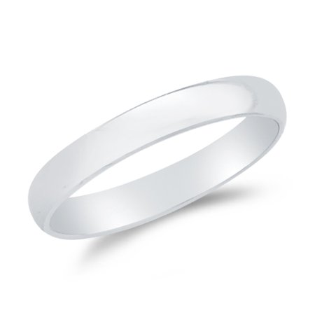 14k White Gold Solid 3mm CLASSIC FIT Plain Traditional Wedding Band Ring , Size 8.5