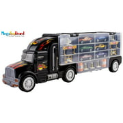 MegaToyBrand Transport Car Carrier Truck Toy with 6 Cars Inside, 28 slots & Highway Accessories