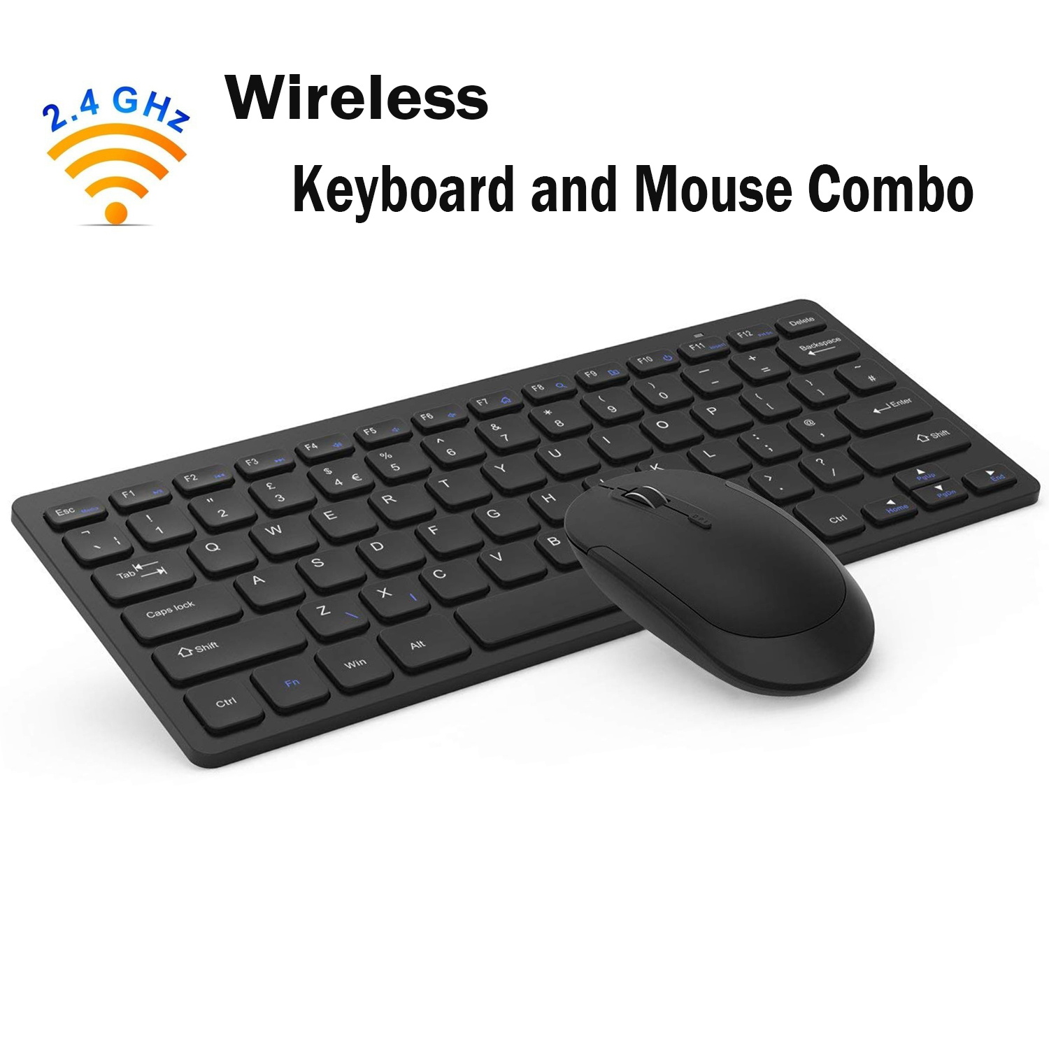 Wireless Keyboard Mouse Combo, Jelly Comb 2.4GHz Ultra Thin Compact Portable SMALL Wireless Keyboard and Mouse Combo Set for PC, Desktop, Computer, Laptop, Windows XP/Vista / 7/8 / 10 - Black