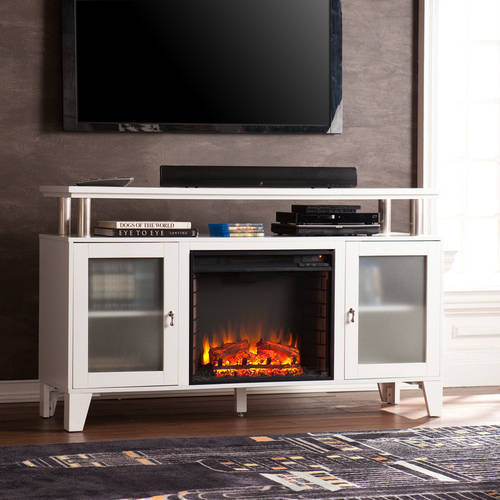 "Southern Enterprises Corine Media Electric Fireplace Console, for TV's up to 60"", White"