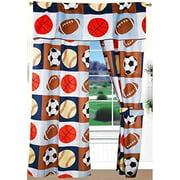 Golden Linens 4 Pieces Rod Pocket Window Curtains/Drape/Panels/Treatment Set Printed Navy Blue, Sky Blue, Brown, Orange Kids Sports Basketball Football Baseball # 02- Curtain