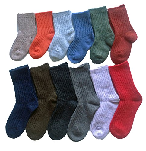 Lian LifeStyle Babys 6 Pairs Pack Fashion Soft Knee High Wool Socks Size 0Y-8Y HR1618