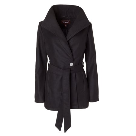 Belted Textured Wool Blend - Sportoli Women's Wool Look Single Breasted Asymmetric Belted Dress Wrap Pea Coat - Black (Size X-Large)