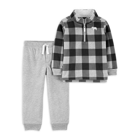 Child of Mine by Carter's Baby & Toddler Boy Plaid Zip-Up Sweatshirt & Woven Pant Outfit Set, 2-Piece (12M-5T)