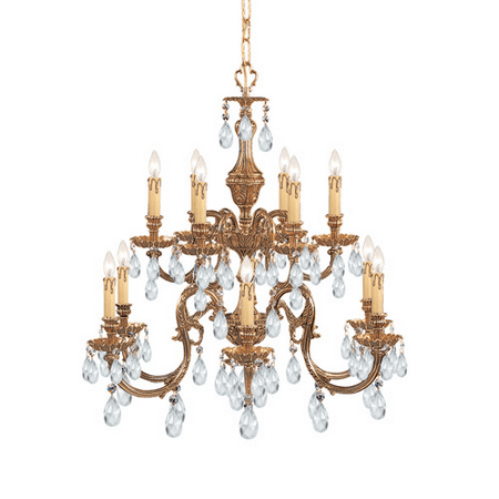 Chandeliers 6 Light With Olde Brass Clear Swarovski Strass Clear Crystal Cast Brass 26 inch 360 Watts - World of Lighting 2 6 Inch Solid Brass