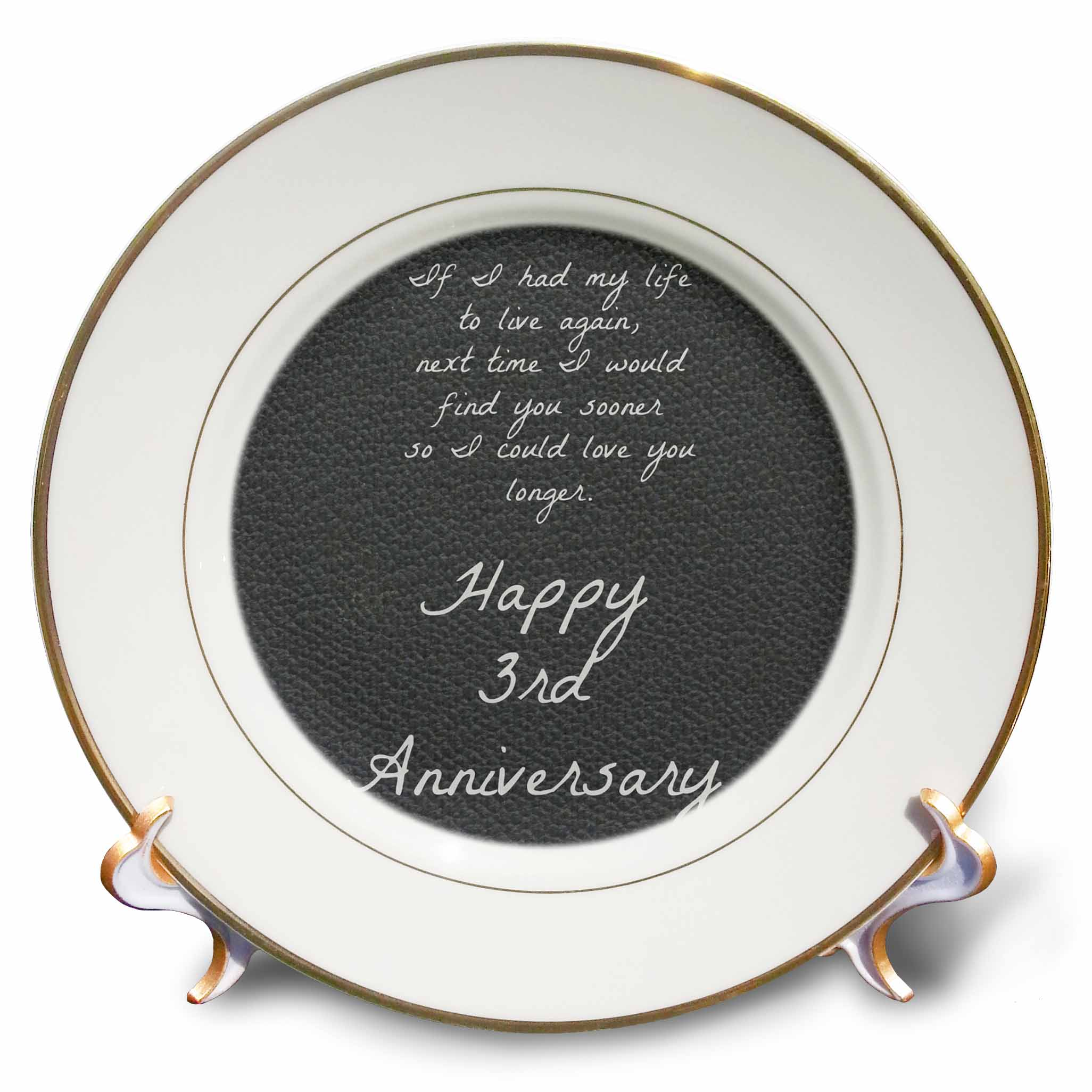 3dRose 3rd Anniversary love you longer on faux leather-like background, Porcelain Plate, 8-inch