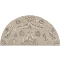 2' x 4' Floral Beige and Camel Brown Hearth Wool Area Rug