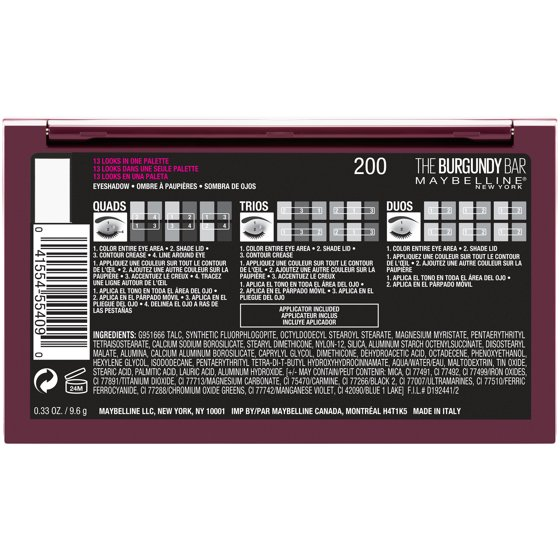 27e2f008705 Maybelline New York The Burgundy Bar Eye Shadow Palette - Walmart.com