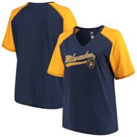 682e55c9269 Product Image Women s Majestic Navy Gold Milwaukee Brewers Plus Size High  Percentage Raglan V-Neck T