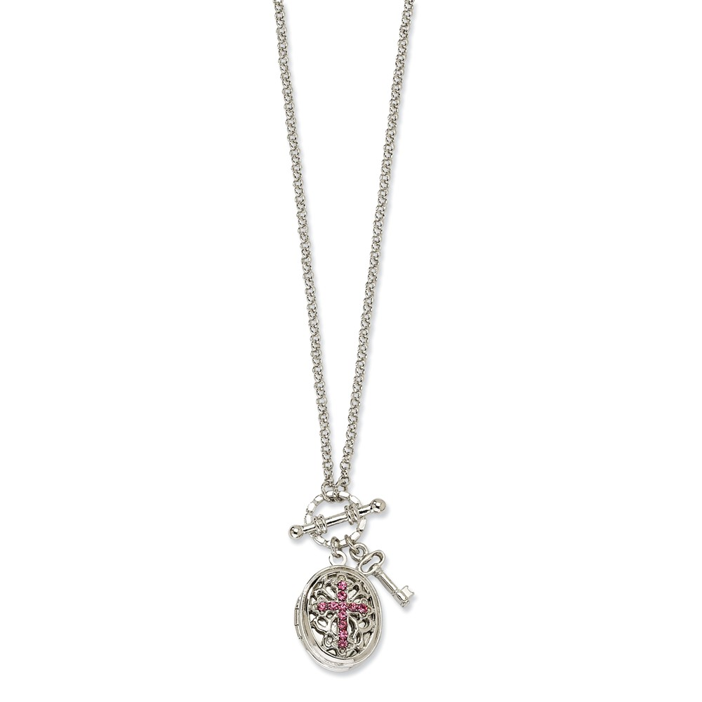 "Silver-tone Light Pink Crystal Cross Locket 24"" Necklace"