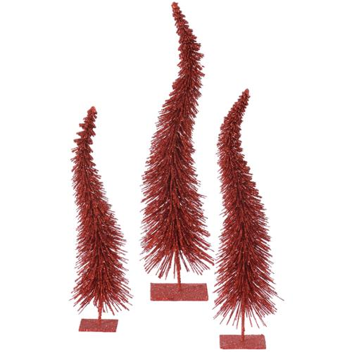 Set of 3 Red Glitter Curved Artificial Christmas Table Top Trees -  Unlit