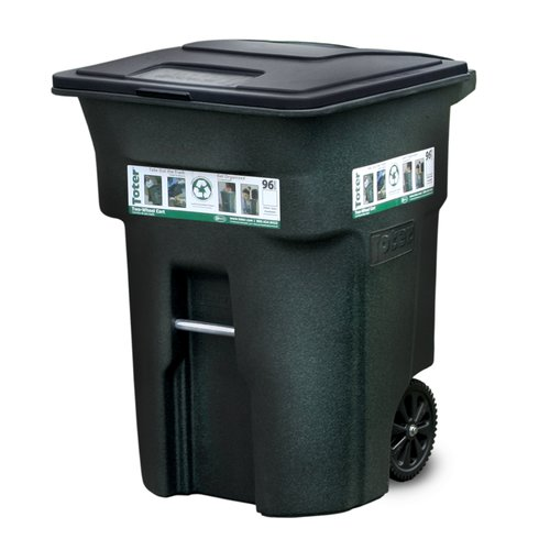 Toter Residential Heavy Duty Two Wheeled Trash Can by