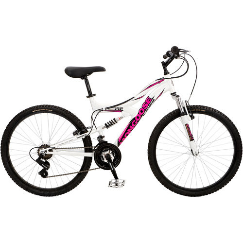 "26"" Mongoose XR-75 Women's Mountain Bike with Full Suspension, White/Pink"
