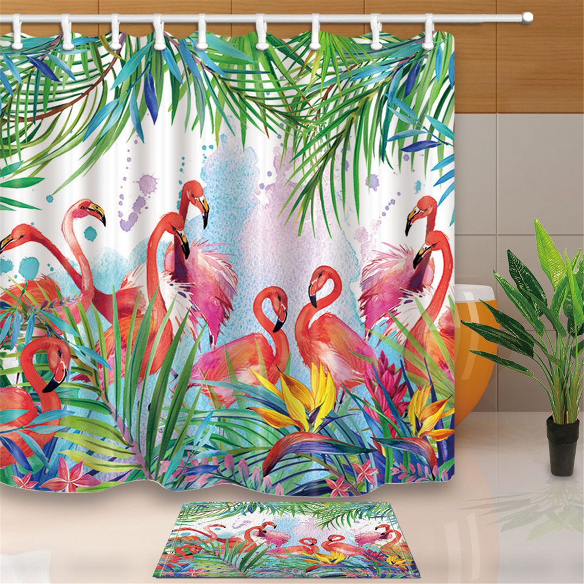 Tropical Flower Flamingo Shower Curtains Bath Curtains Bathroom Curtains Anti Bacterial Waterproof Polyester Fabric Hooks Included