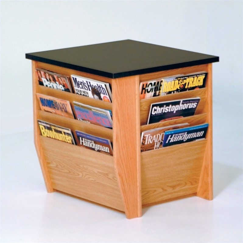 Dakota Wave End Table with Magazine Pockets in Light Oak
