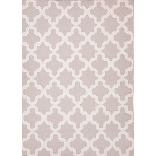 Flatweave Trellis, Chain And Tile Pattern Gray/Ivory Wool Area Rug (3.6x5.6)