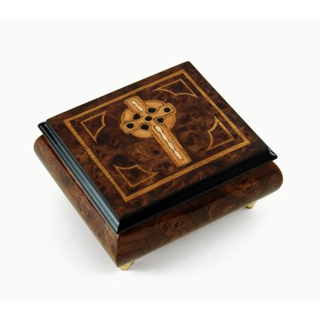 Elegant Handcrafted Italian Celtic Cross Inlaid Music Box - A Whole New