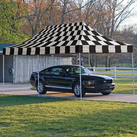 Flag Canopy (Shelterlogic 10' x 20' Pro Pop-up Canopy Straight Leg, Checkered Flag Cover )