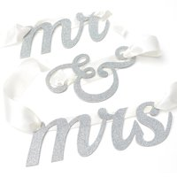 Way to Celebrate Mr & Mrs Glitter Banner with Satin Ribbon, 1 Each