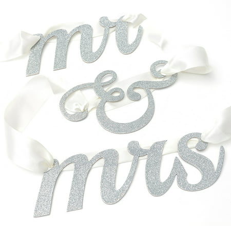 Way to Celebrate Mr & Mrs Glitter Banner, 1 Each ()