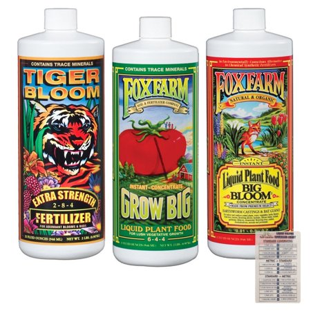 Fox Farm Liquid Nutrient Trio Soil Formula: Big Bloom, Grow Big, Tiger Bloom (Pack of 3 - 32 oz Bottles) 1 Quart Each + Twin Canaries Chart